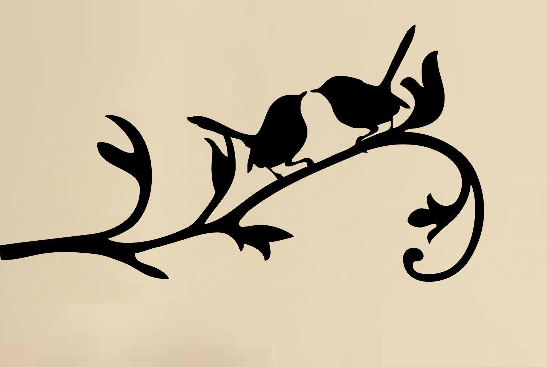 Love Birds On A Branch Silhouette
