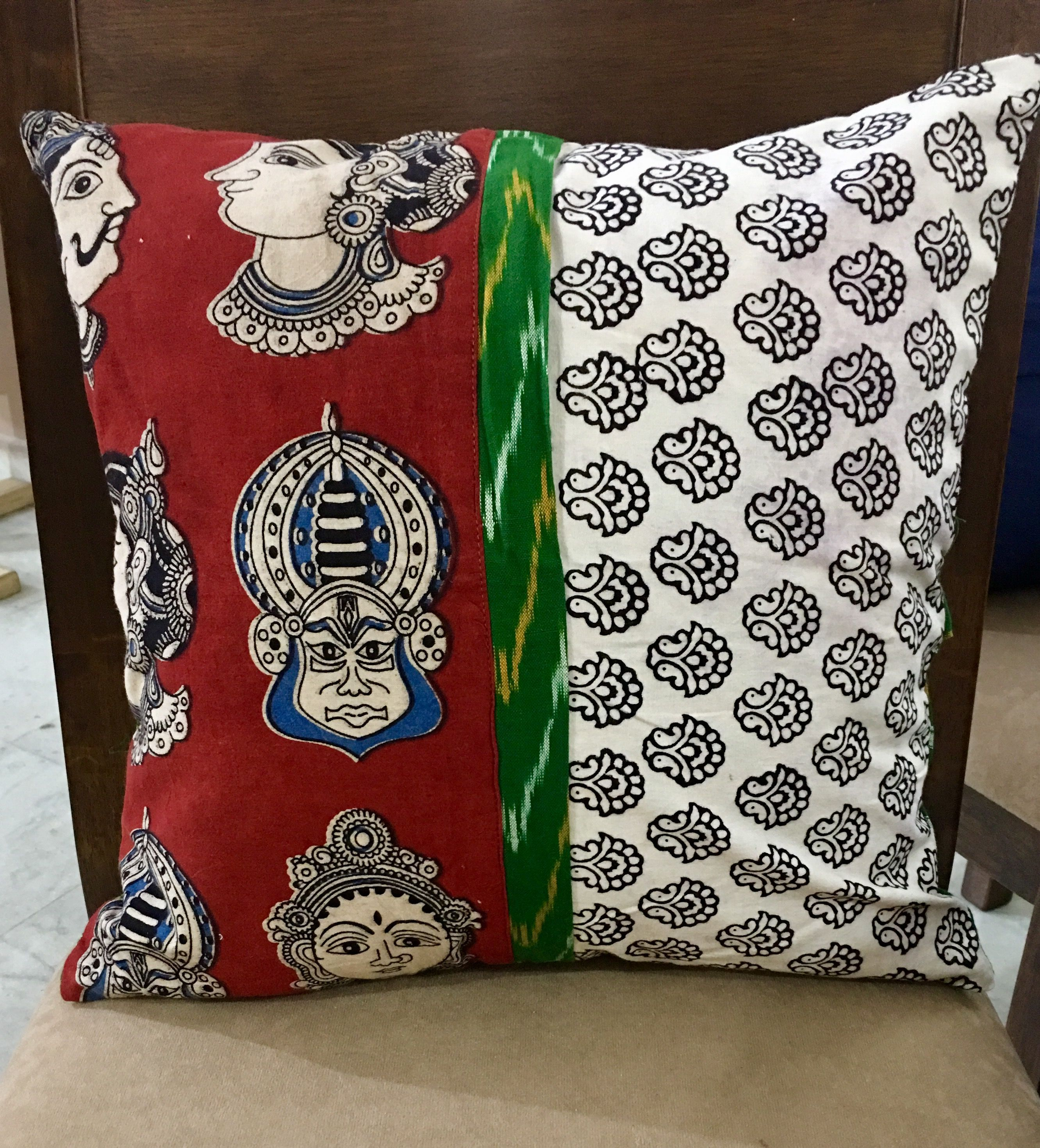 Block Printed Cushion Cover Fabric Ikkat Cotton Colour Off White Base,