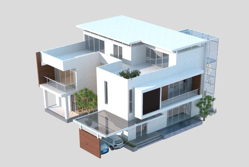 Luxury Contemporary House 3d Model House 3d Model Contemporary