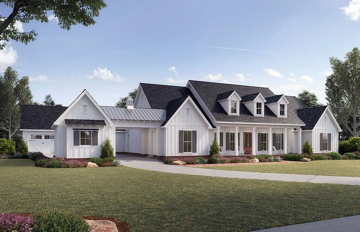 Traditional Style House Plan 41401 With 4 Bed 4 Bath 4 Car Garage Farmhouse Style House Farmhouse Style House Plans Modern Farmhouse Plans