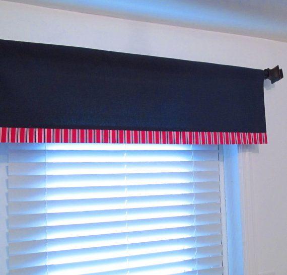 NAUTICAL Valance Boys Room Decor Navy Blue Red White/ Custom Sizing ...