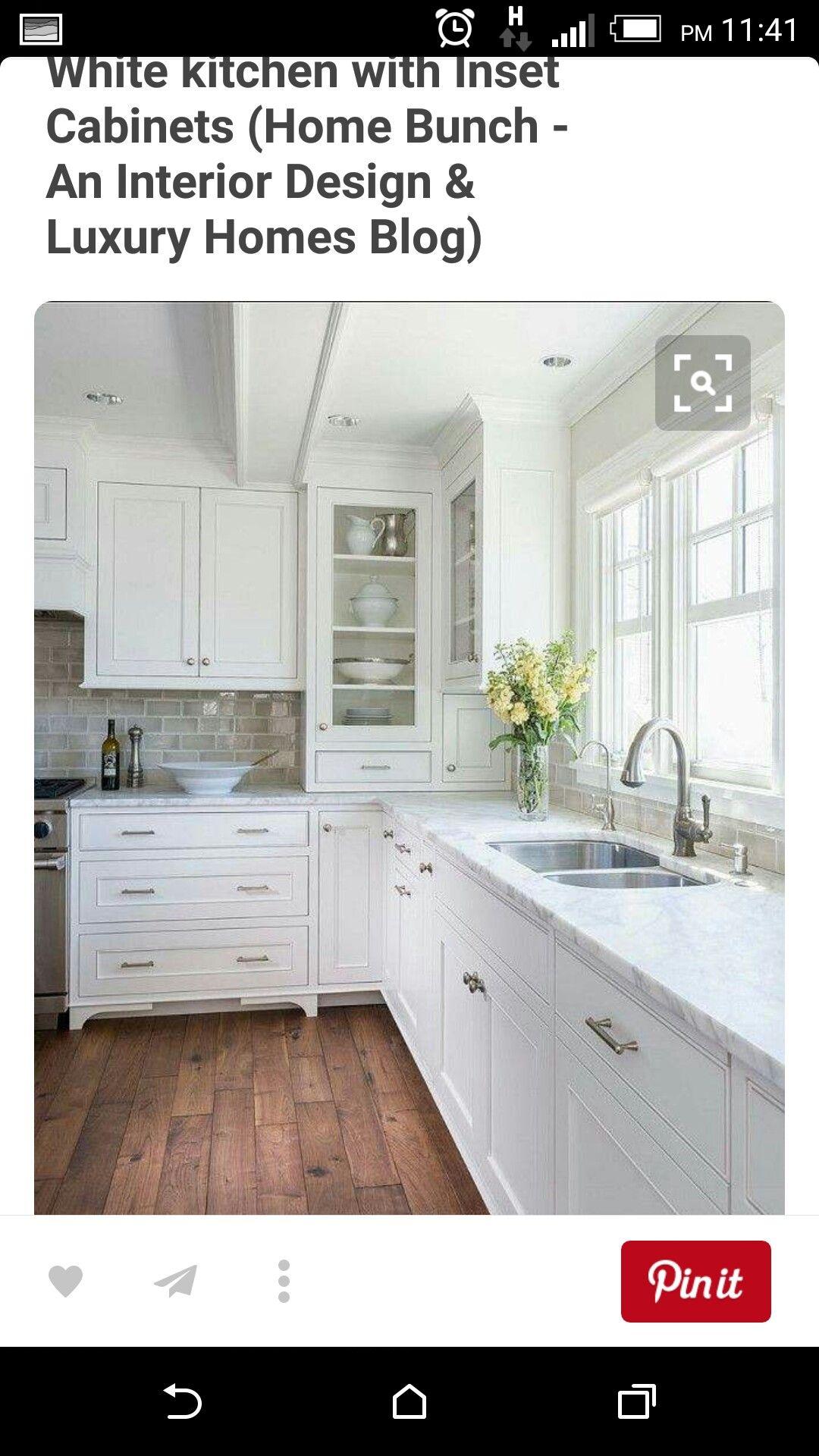 White kitchen with Giallo Ornamental (also known as Amarello ...