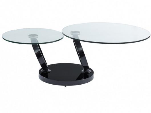Table Basse Plateaux Pivotants Joline Verre Trempe Noir Table Basse Verre Table Basse Verre Trempe Table Basse