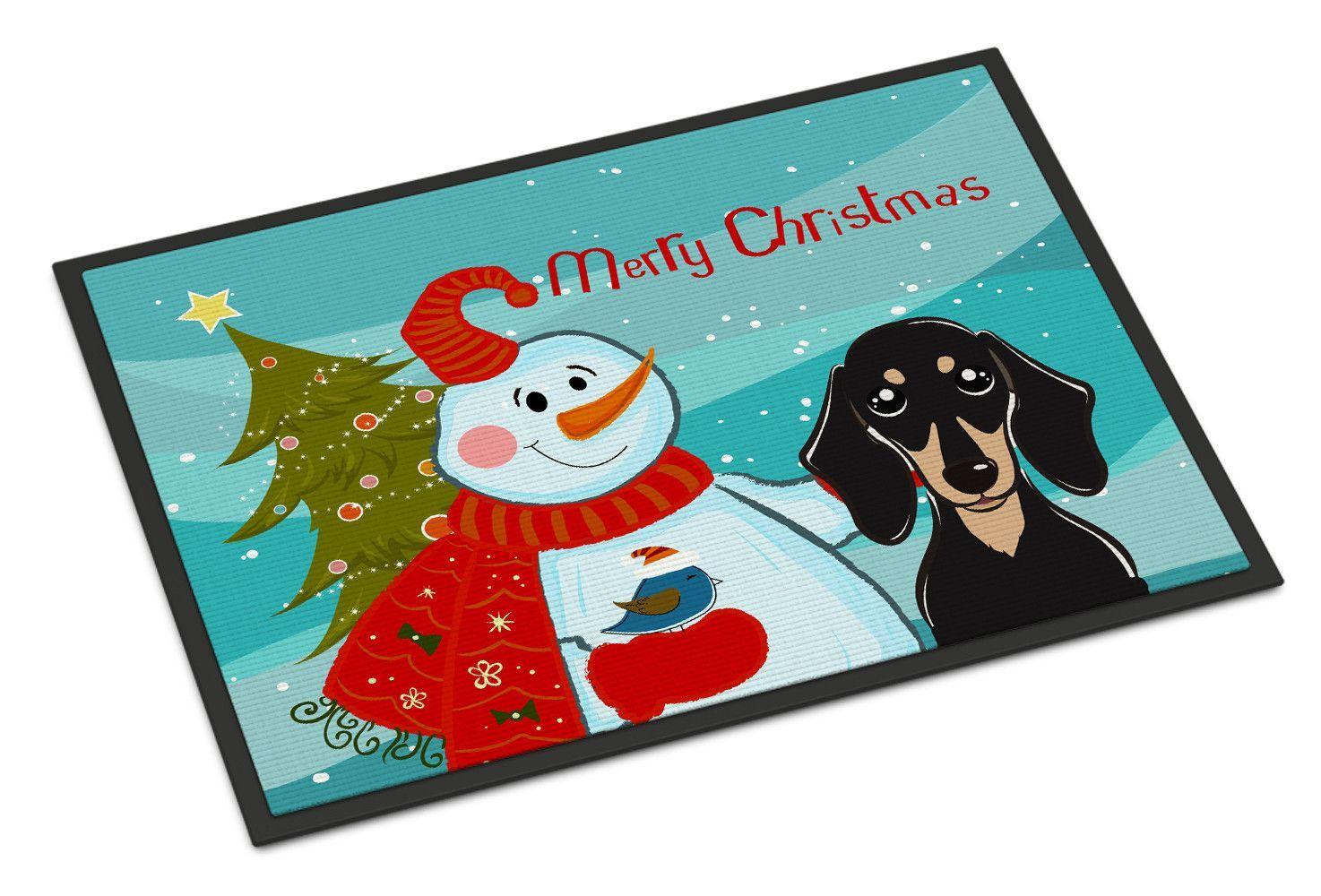 Snowman with Smooth Black and Tan Dachshund Indoor or Outdoor Mat 18x27 BB1835MAT