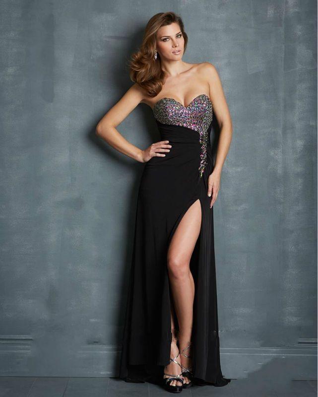 Cheap Sweetheart Beaded High Slit Famous Evening Dress Free Measurement