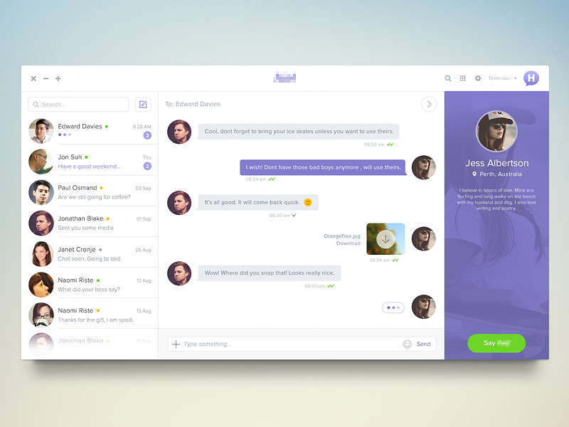 chatmessaging ui inspiration - Web User Interface Design Examples