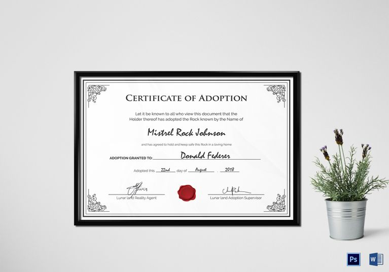 Adoption Birth Certificate Template $9.99 Formats Included : MS Word ...