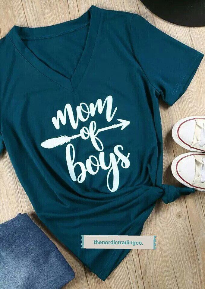 Mom Of Boys Teal Women s T Shirt Mother s Day Gifts Top Trending Gift sz L  XL 5e7ad55f7