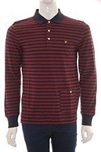 Lyle and Scott Mens Long Sleeve Polo red b_XXL Stripe Reg Fit - Various Size Options