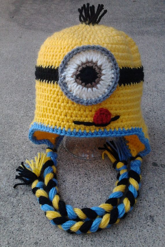 Adult size Minion Character Hat Earflap or Beanie by Evermicha ...