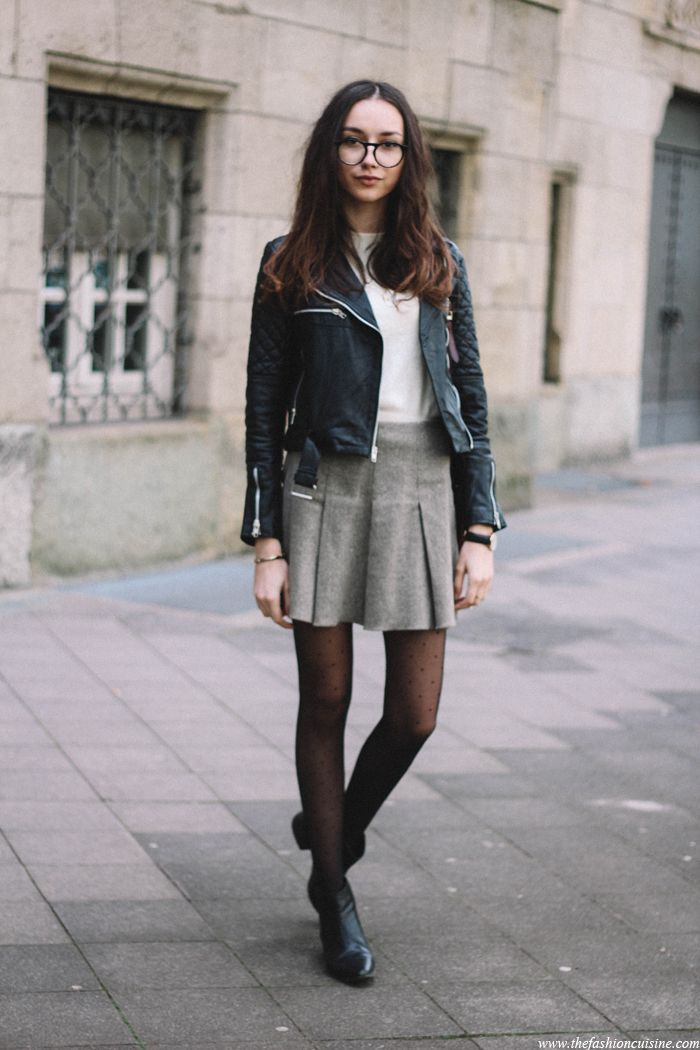 Quilted Leather Jacket, Tweed Skater Skirt, Preppy Outfit -2881