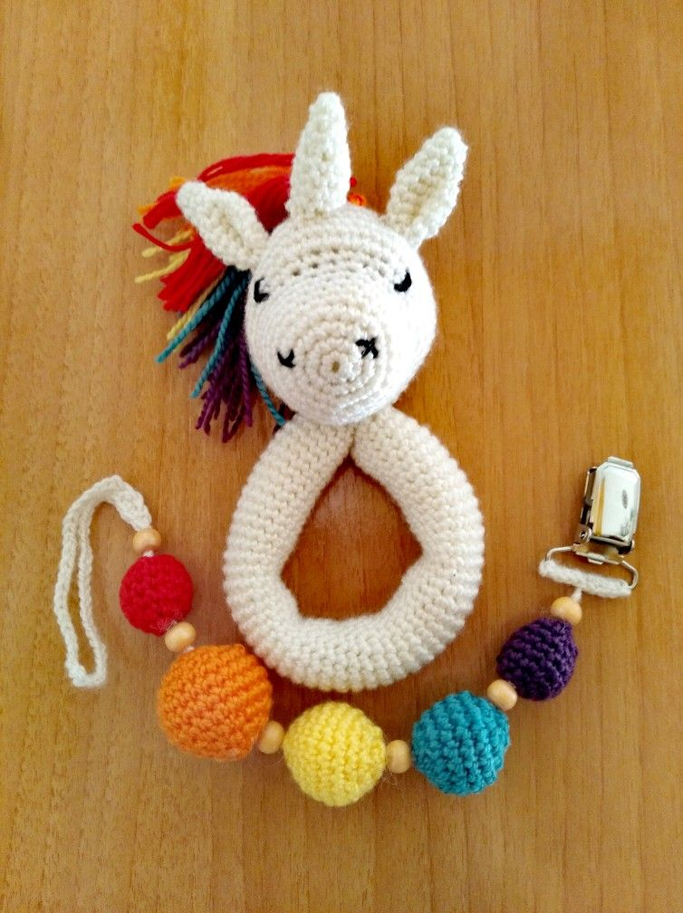 Crochet sweet unicorn toy crochet muñeca sonajero|doll rattle|toy ... | 1008x754