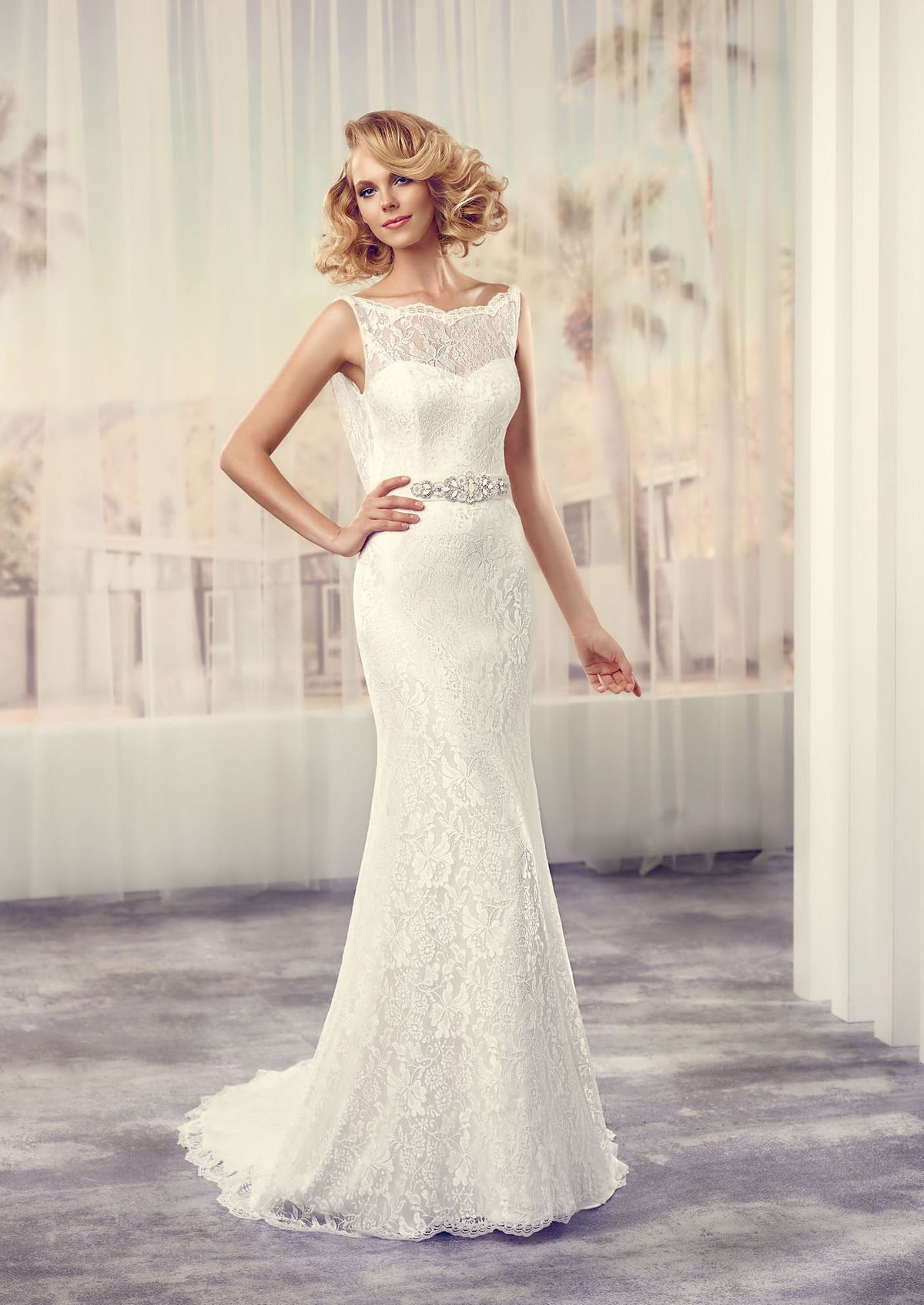 Sindy By Lepapillon Lace Vintage Inspired Wedding Dress Boat Neck With Beautiful Cowel Ba Sheath Wedding Dress Lace Wedding Dresses Lace Ruched Wedding Dress