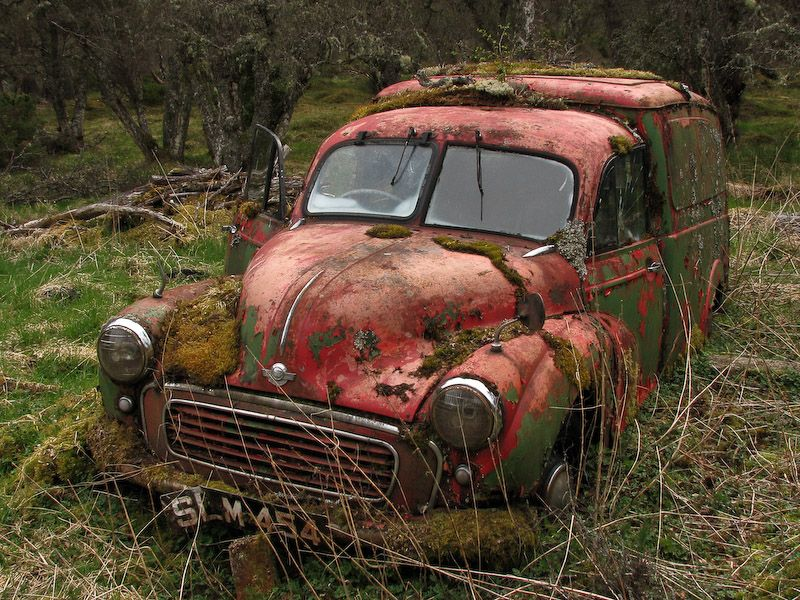 This is an old Morris Minor van that I found abandoned in a forest. I think that it is probably an old Royal Mail van from around 1953.