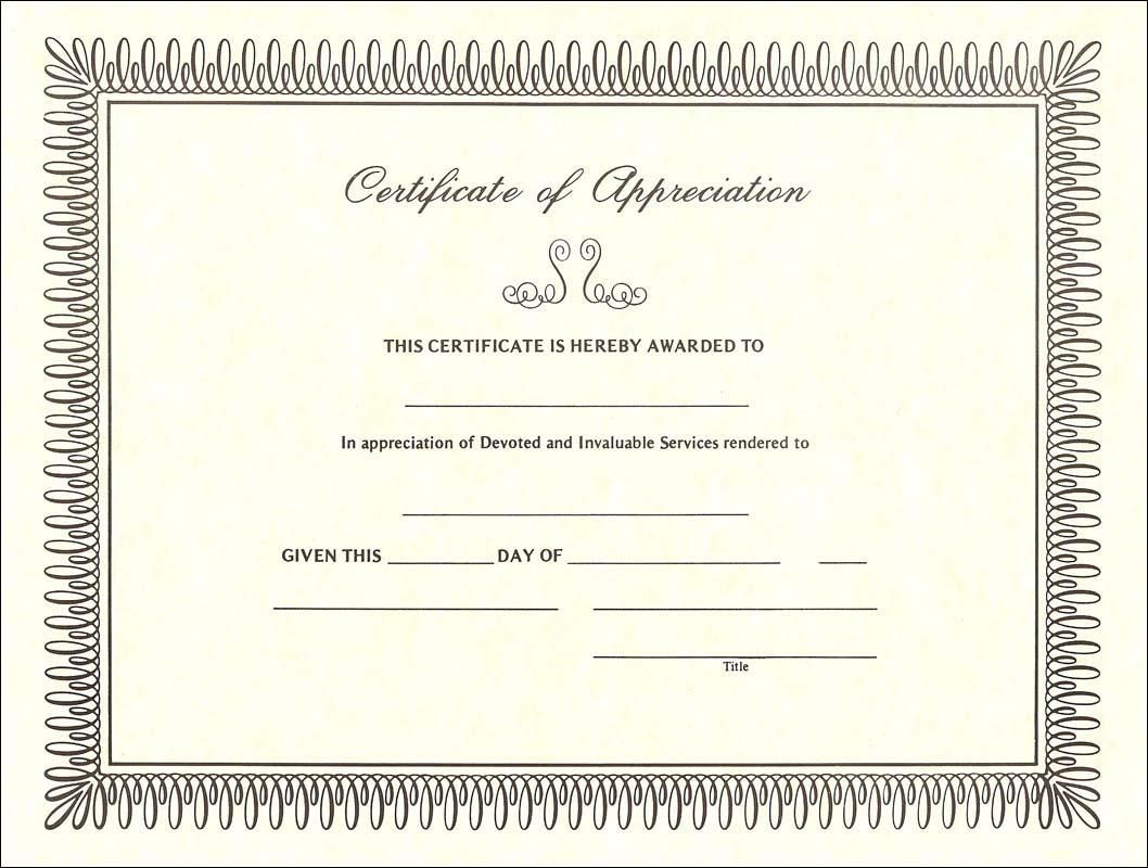 Free Certificate Of Appreciation Sample  Blank Certificate Of