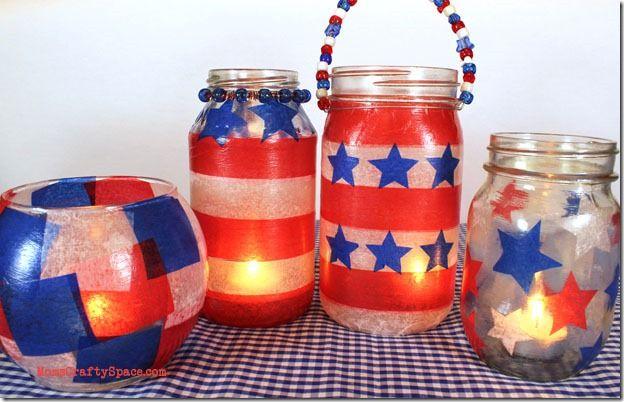Fourth Of July In Mason Jars Mason Jar Crafts Love 4th Of July Decorations July Crafts 4th Of July