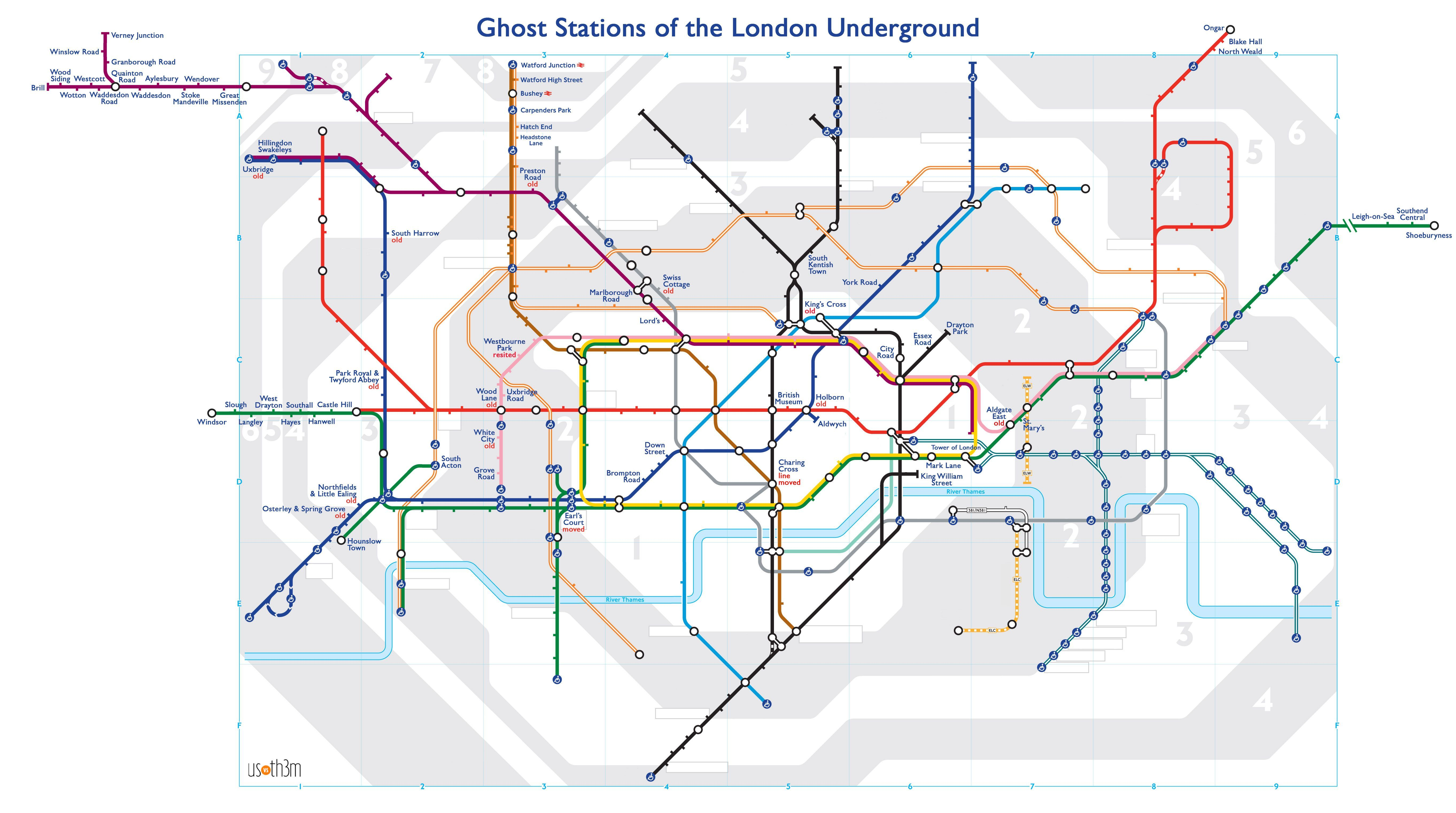 Abandoned Tube Really Cool Tube Map Of Abandoned Tube Lines Oh To