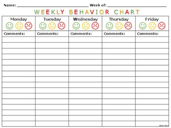 Weekly Behavior Charts And Tally Sheets For Children  Teaching