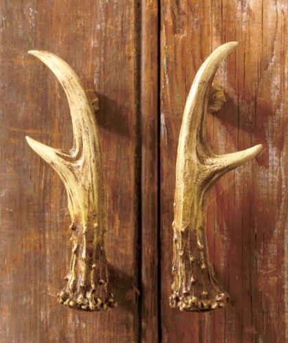 2 PC Rustic DEER ANTLER Cabinet Door Pulls Hunting Cabin Lodge Country  Hardware
