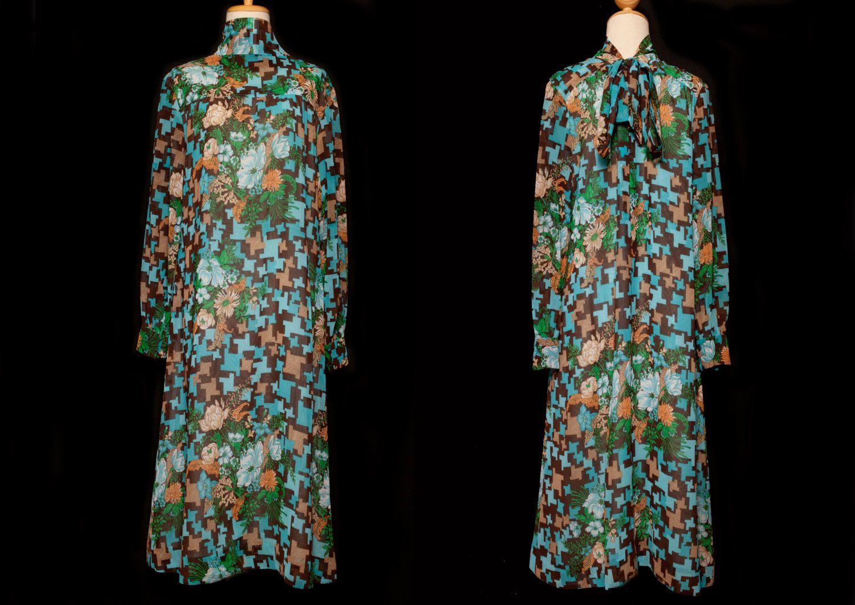 Brown blue floral dressjapanese floral dresstank dressboho dress