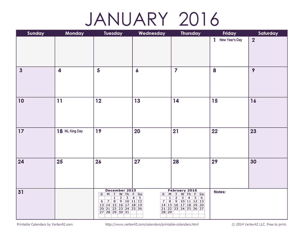 Download A Free 2016 Monthly Calendar Purple From Vertex42