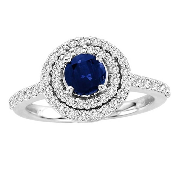 5 0mm Blue Sapphire And 1 2 Ct T W Diamond Double Frame Ring In 14k White Gold White Gold Blue Sapphire Sapphire