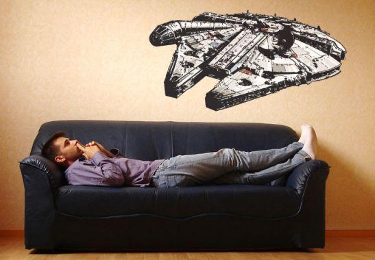 wandtattoo millenium falcon star wars etc. Black Bedroom Furniture Sets. Home Design Ideas