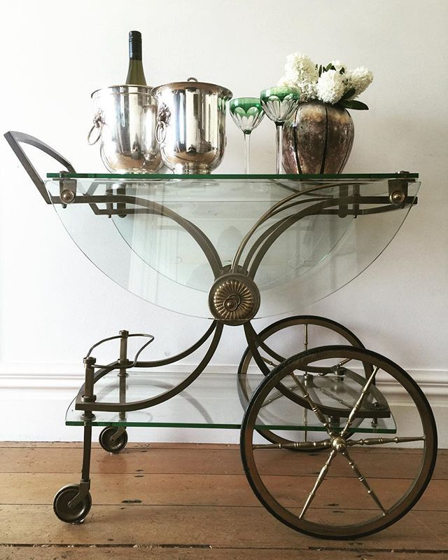 My fab French cocktail trolley as featured in Denizen today... Lovin the Hollywood vibe....they are so glam! #europeanantiques #antiques #mid century #drinkstrolley #barcart #brass #antiquewithmodern
