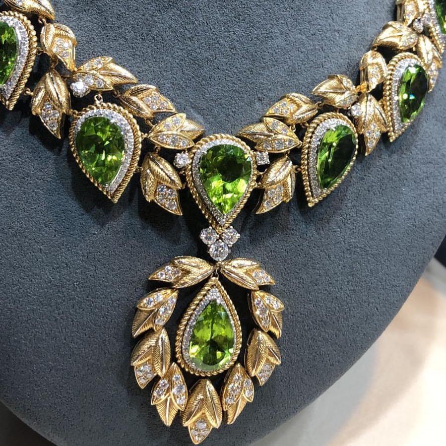 Jewellery Salon Mix And Match Our Costanza Necklace With Nadja Ring The Contrast Between Peridot And Amethyst Peridot Jewelry Jewelry Lover Couture Jewelry