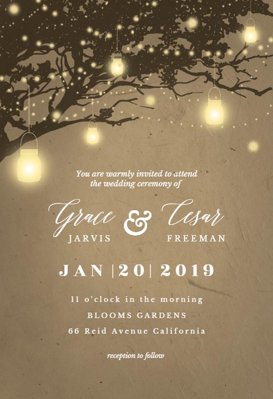 Lights On Oak Tree Wedding Invitation Template Free Greetings Island Tree Wedding Invitations Oak Tree Wedding Invitation Oak Tree Wedding