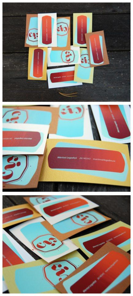 // My bussines cards     Print - Screenprinting, 4+4 colors  Paper - random, 6-8 different papers