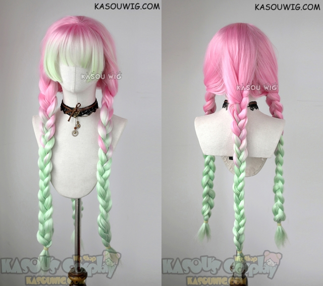 Kasou Wig Kimetsu No Yaiba Demon Slayers Mitsuri Kanroji Thick Pink Green Cosplay Wig Cosplay Wigs Hair Color Pink Kawaii Wigs Мицури канродзи / mitsuri kanroji. kasou wig kimetsu no yaiba demon