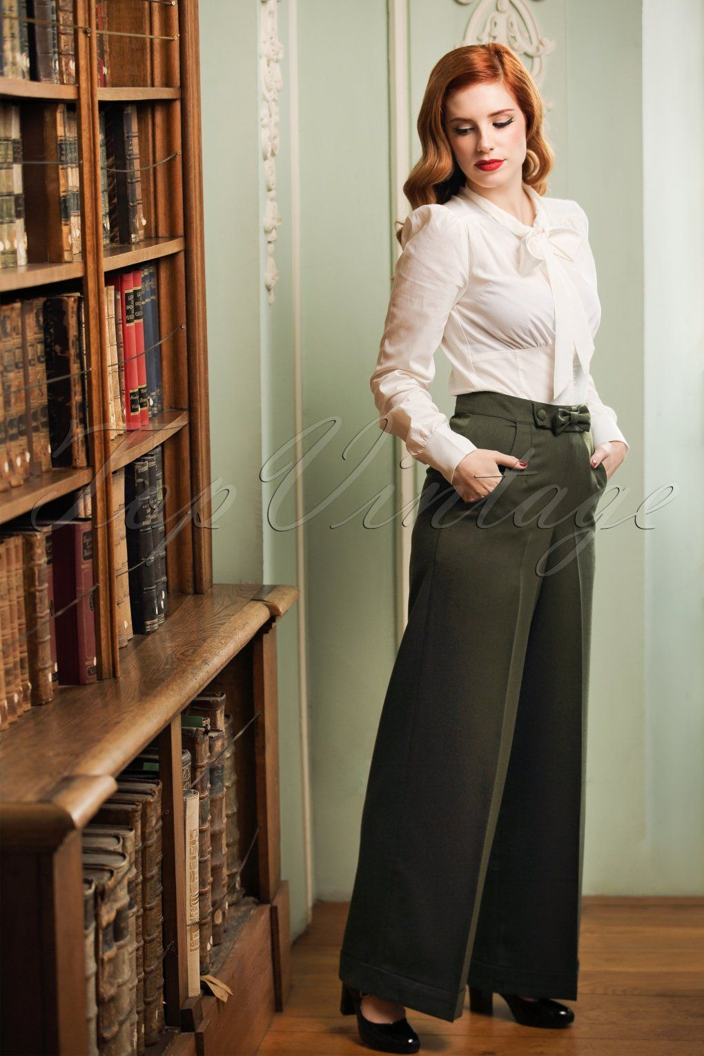 Vintage look cream bow blouse olive green trousers trousers