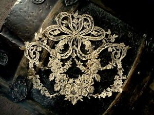"VICTORIAN 10 1/2"" RAISED EMBROIDERED BRIDAL LACE APPLIQUE FRENCH?"