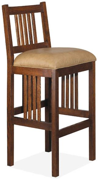 Nobility Solid Oak Mission Spindle Barstool Craftsman Style
