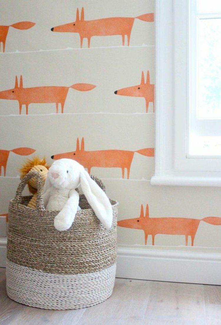 Kinderzimmer wandgestaltung vorlagen  Kinderzimmer Wandgestaltung Tapeten mit Fuchs-Muster | Home Sweet ...