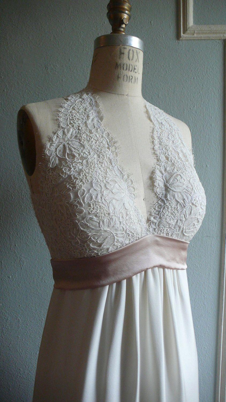 French Lace Halter Wedding Gown Empire Waist Column Skirt Contrast Sash Silk