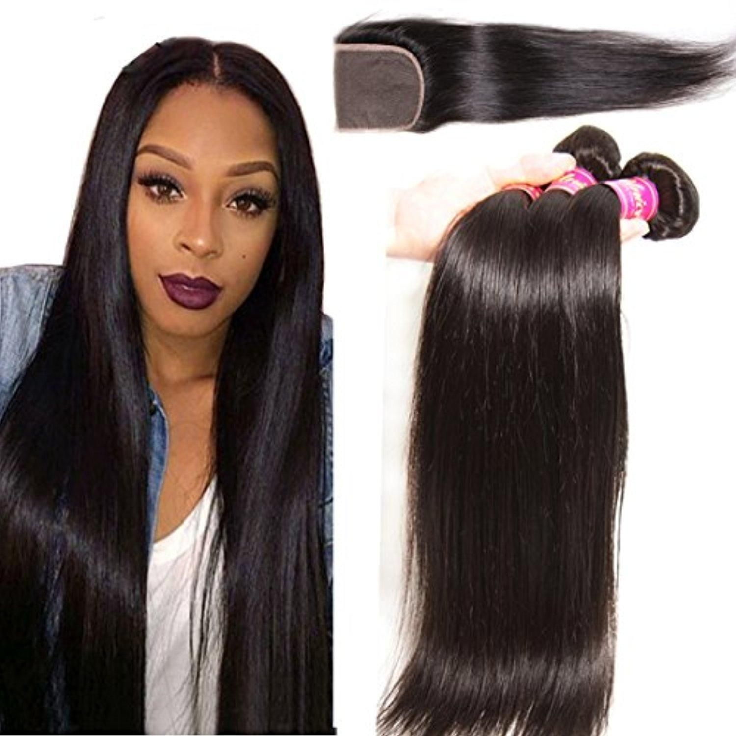 Unice Hair Free Part 1pc 4x4 Lace Closure With 3 Bundles Virgin Malaysian Straight Human