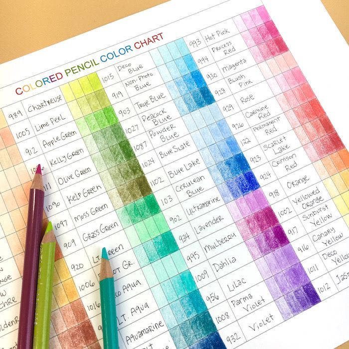 Free Color Chart And Colored Pencil Video Tutorial  Coloring