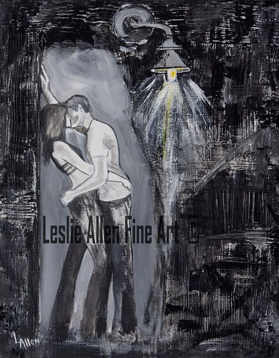 """Couple Painting Couple INDUSTRIAL ABSTRACT Light Silver Black Textured Couple Love Kissing True Love  """"Kissing You"""" Leslie Allen Fine Art"""