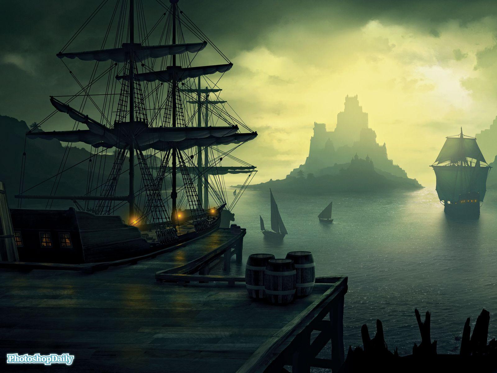 Fantasy ship cliff jolly roger pirate ship rock lightning wallpaper - Pirate Ship Wallpaper Http Wallpaperzoo Com Pirate Ship