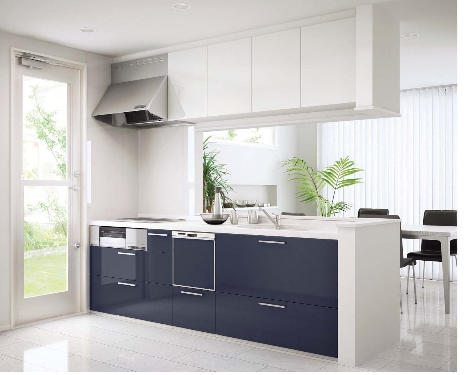 Stunning Ikea Small Modern Kitchen Design With Purple And White