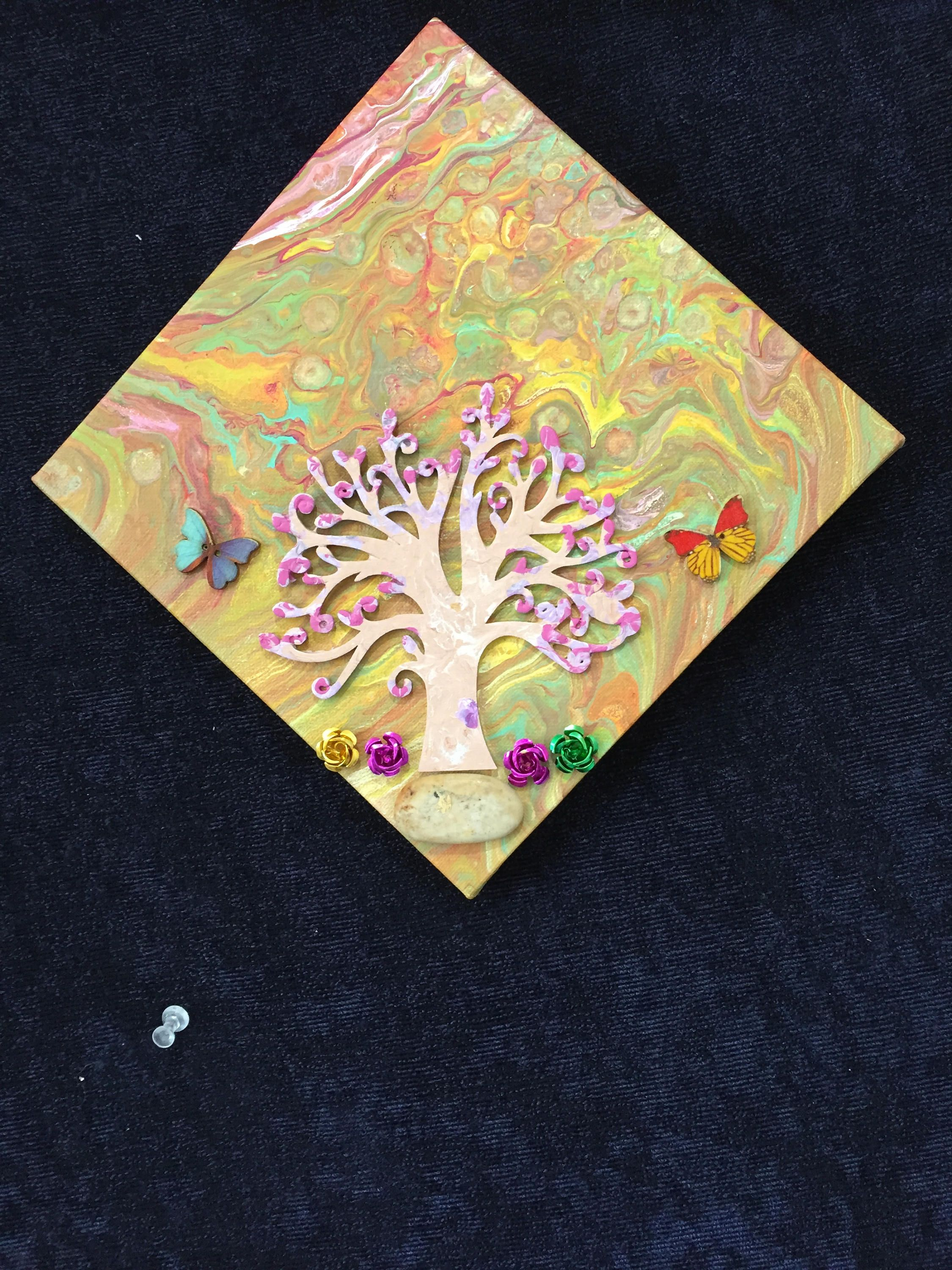 3-D - Magical Tree Original Embellished Acrylic Liquid Dirty Pour ...