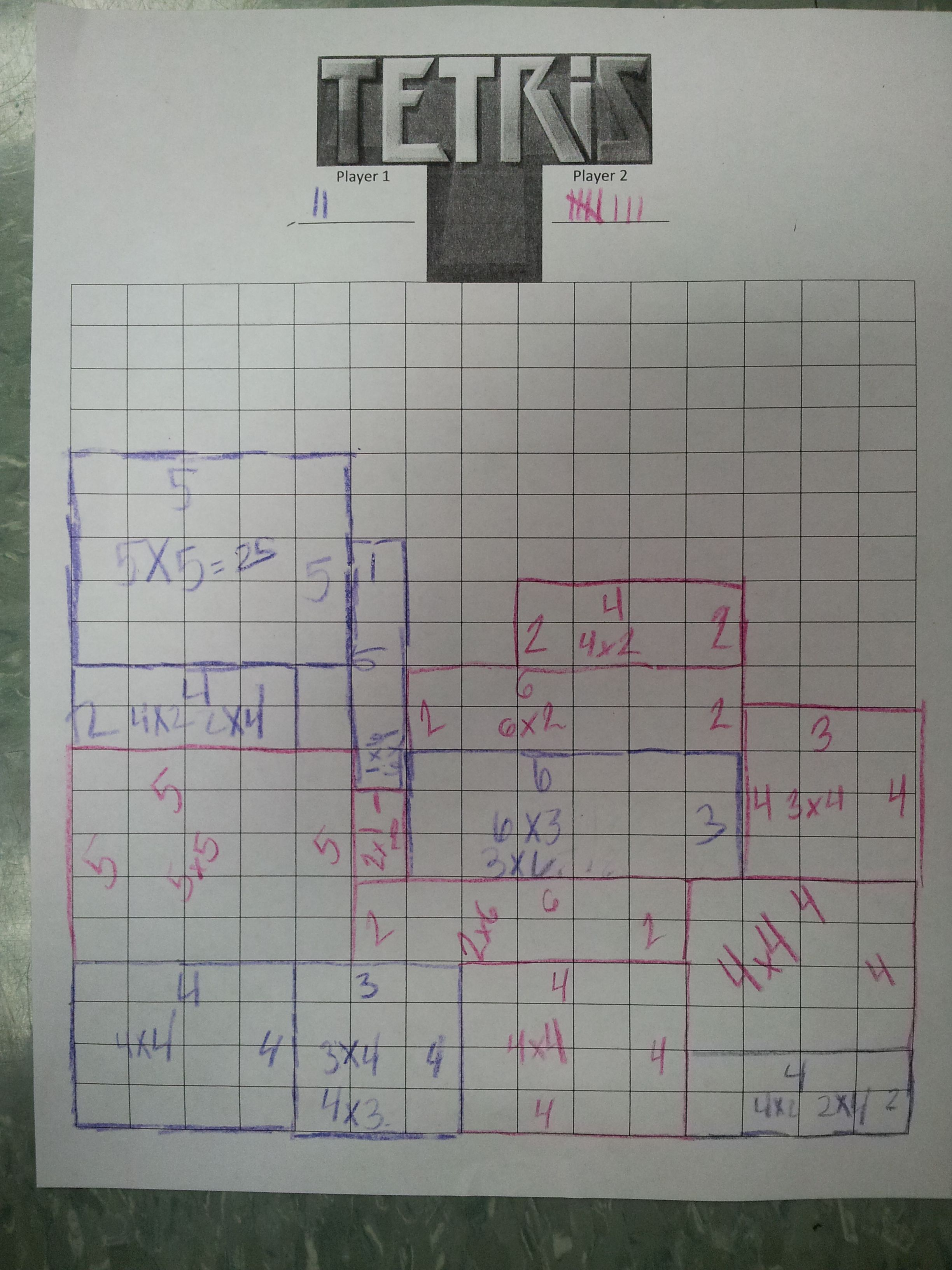 Tetris Using Arrays Students Roll Double Dice And Those