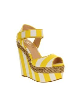 Womens Office On Your Marks Yellow And Off White Striped Canvas Heels Multi Coloured