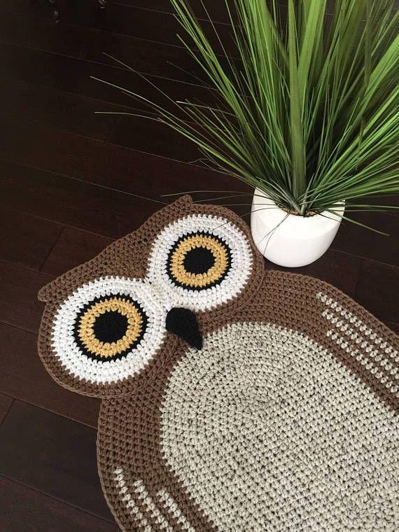 Bigger Crochet Oval Owl Rug,Owl Rug,Hand made Rug, Oval Rug,Kids Rug ...