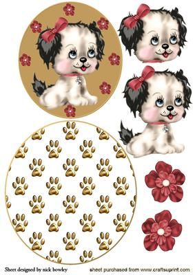 CUTE LITTLE PUPPY IN BOWS ROCKER CARD on Craftsuprint - Add To Basket!