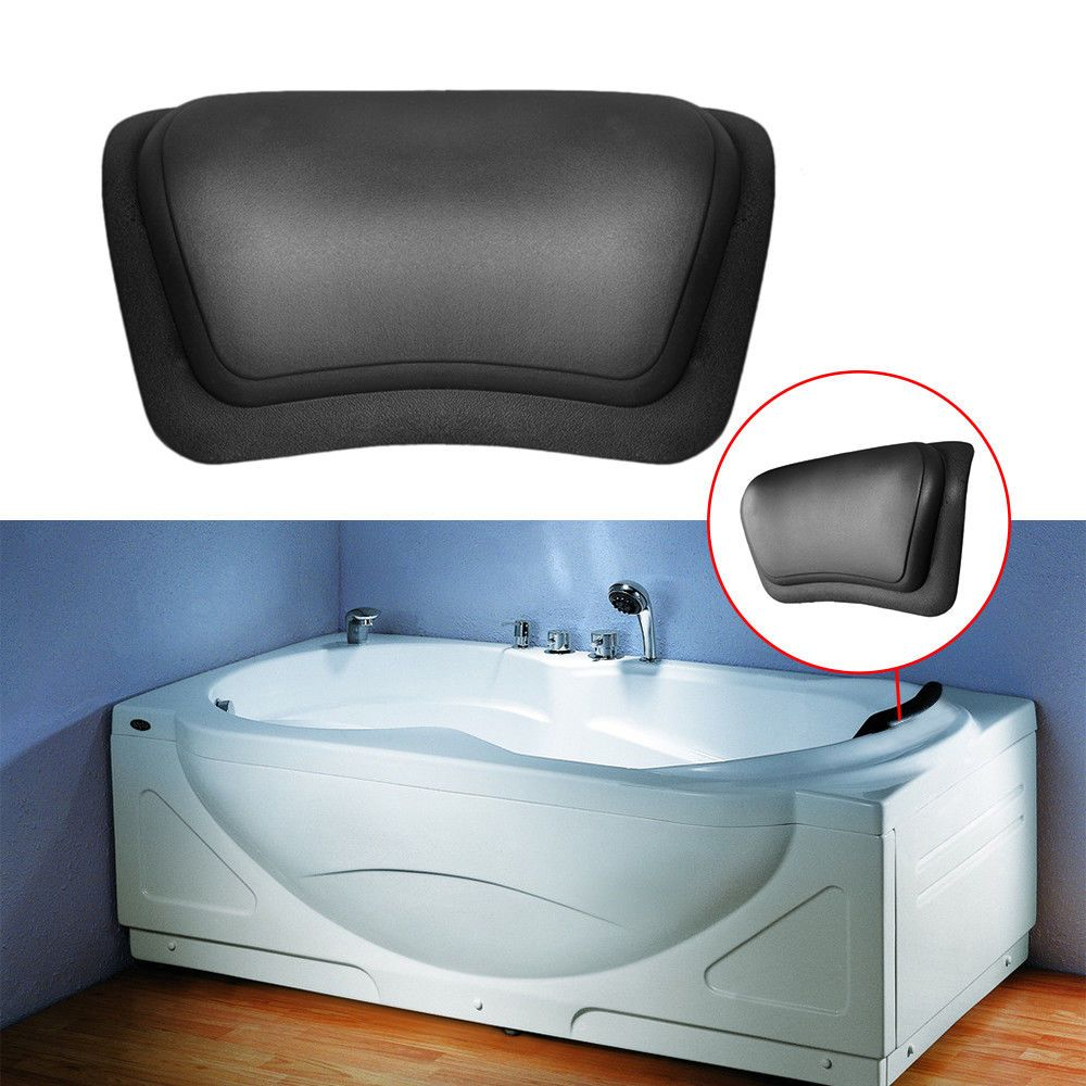 Black Bathtub Pillow Headrest Waterproof Pu Bath Pillows Bathroom ...