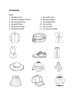 Kleidung (Clothing in German) Farbe worksheet 1 | Worksheets, German ...