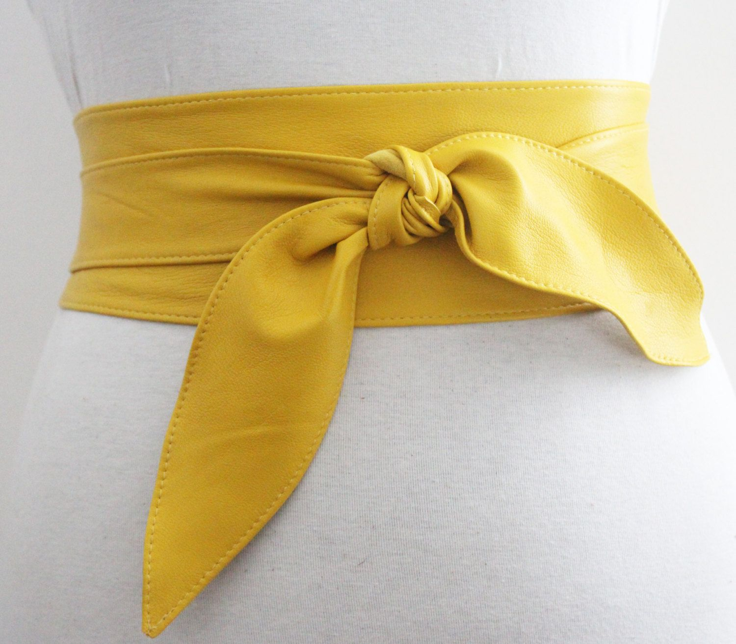 Yellow Belt tulip Tie Soft Leather Obi | Waist Obi Belt